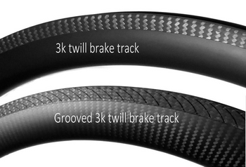carbon rim with 3k twill brake track and grooved 3k twill brake track